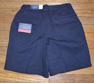 Croft-amp-Barrow-Side-Elastic-Cargo-Shorts-Navy-Blue-Mens-Casual-Short