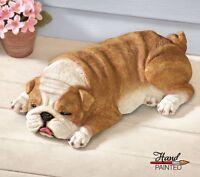 Realistic Sleeping Puppy Bulldog Outdoor Garden Statue