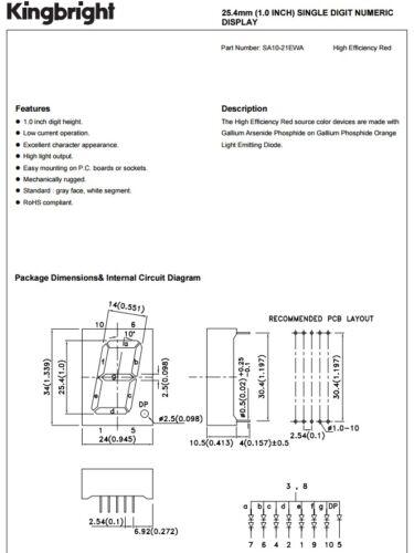 10 Kingbright sa10-21ewa 25.4 mm 1 Pollice Rosso Sette segmento ca DISPLAY LED
