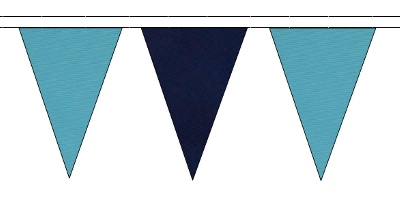 Sky Blau & Navy Blau Triangular Flag Bunting - 50m with 120 Flags