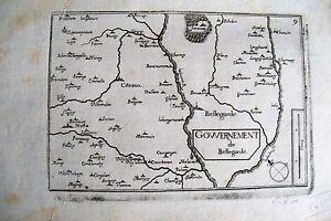 21d7-1 Gravure 17e Carte Gouvernement De Bellegarde Côte D'or (bourgogne)