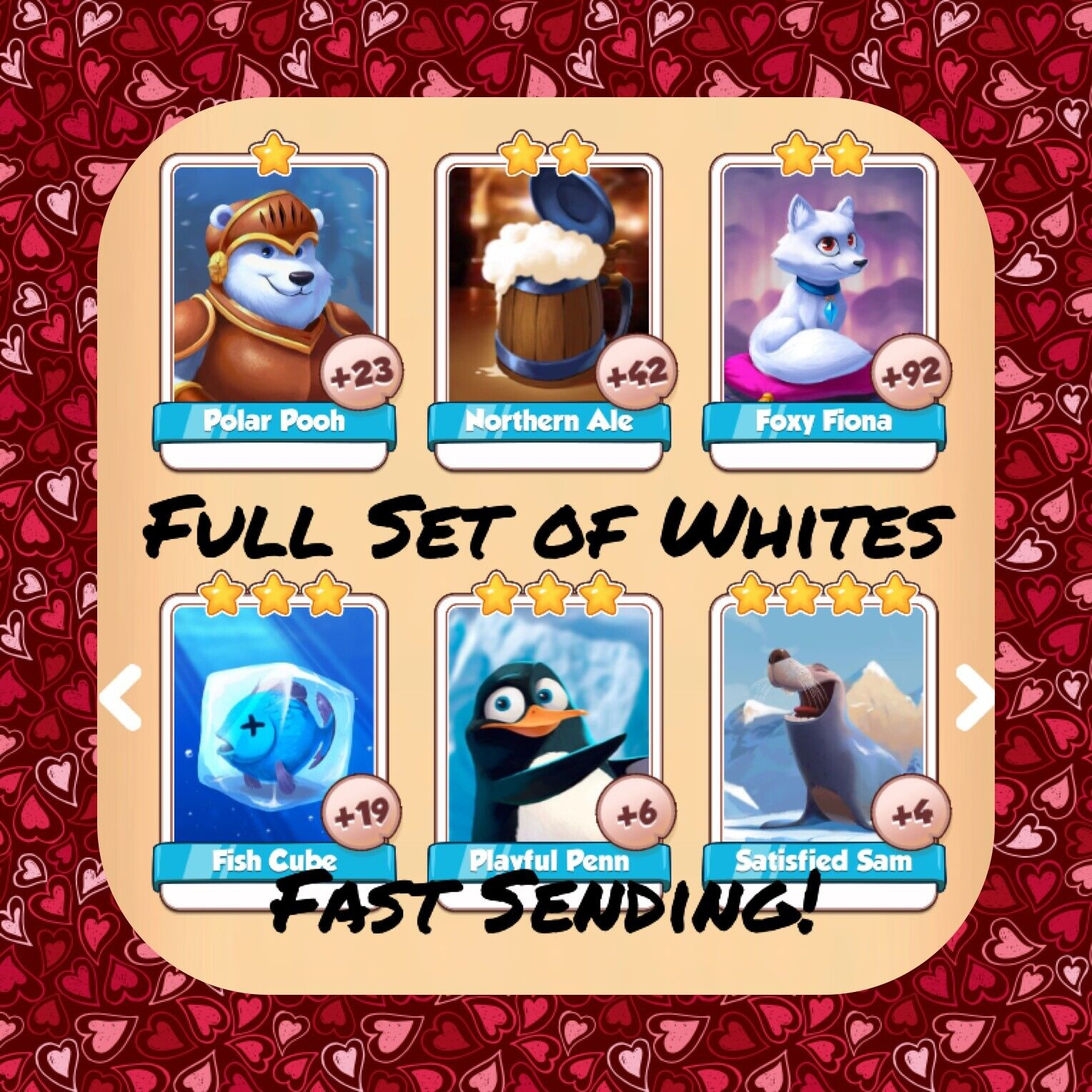 Coin Master Full Ice Queen Set (All 7 Whites) Excalibur Playful Penn (Fast Send)