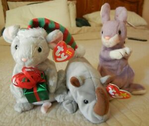 3 Beanie Babies: Springy (2000), Spike (1996) & Tiny Tim (2004) Mint Condition