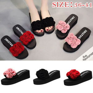 a7d0134964b Image is loading Summer-Women-Flower-Beach-Flip-Flops-Platform-Sandals-