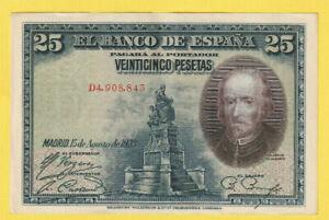SPAIN - Old 25 Pesetas Note 1925(1936) - CALDERÓN Superb XF - a/UNC Rare - LOOK