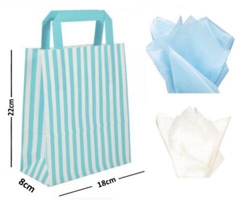 Bleu Bonbon Rayé Plat Anse Sacs ~ Fête D'Anniversaire Papier Sac Cadeau et Tissu