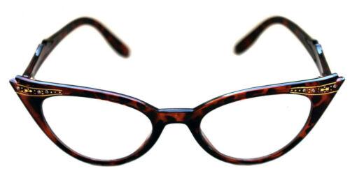 Cat Eye Verre clair style Nerd Lunettes Leo Marron Rockabilly 311