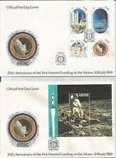 Nevis  1989  20th Anniversary Moon Landing (1969)  FDI  FDC  First Day Cover x 2