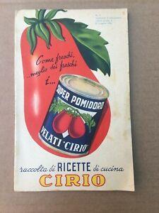 VECCHIO LIBRO RICETTE CIRIO 1952 OLD BOOK