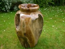 solid teak root vase fair trade solid wood vase large 48cm vase