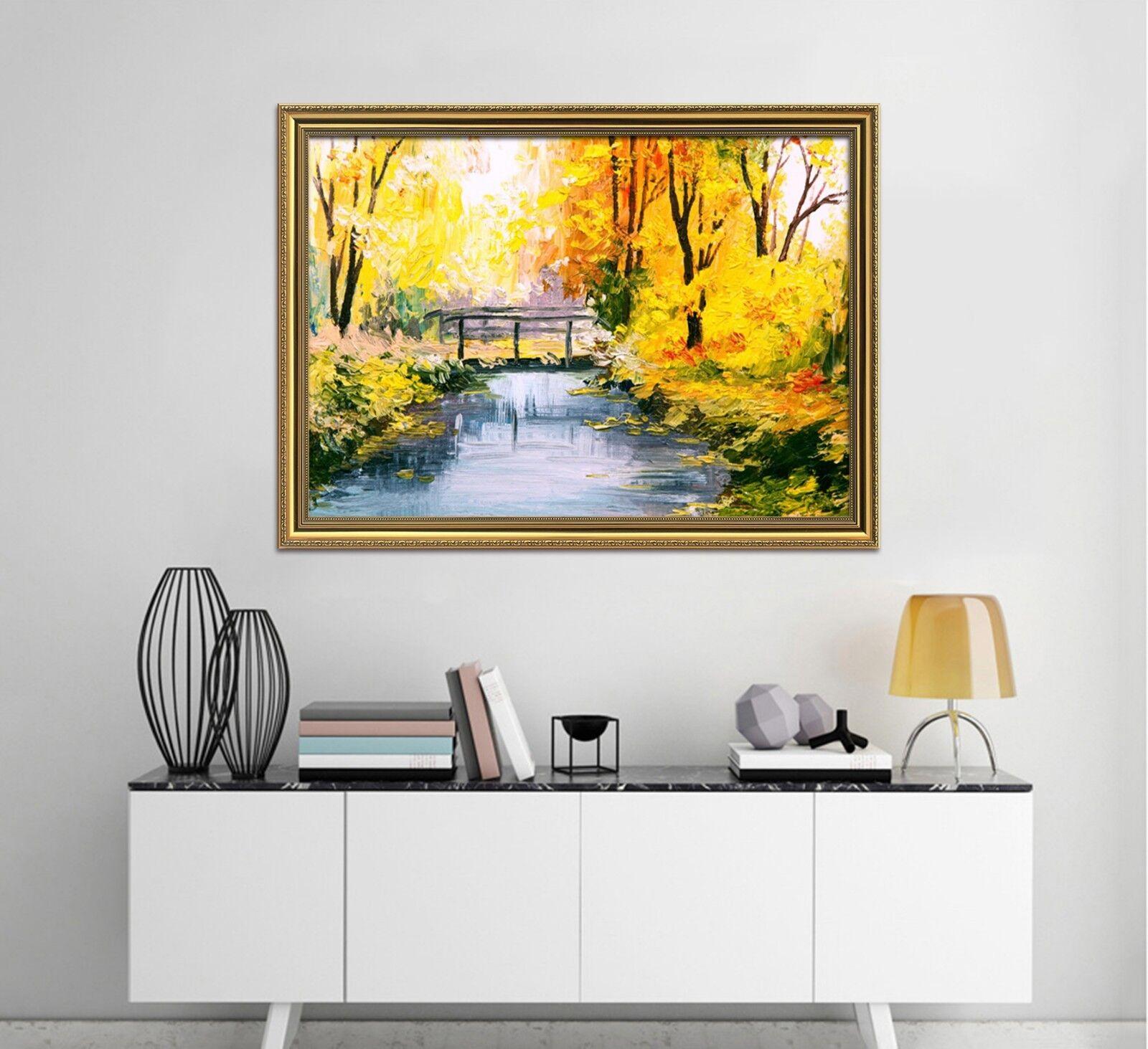 3D Gold Baum Brücke 48 Gerahmt Poster Daheim Dekor Drucken Malerei Kunst AJ