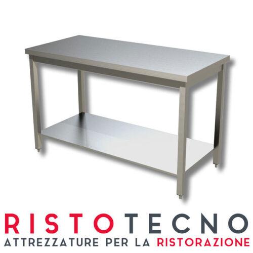 Tavolo acciaio inox con ripiano senza alzatina 140x70x85H Ristorazione Pizzeria