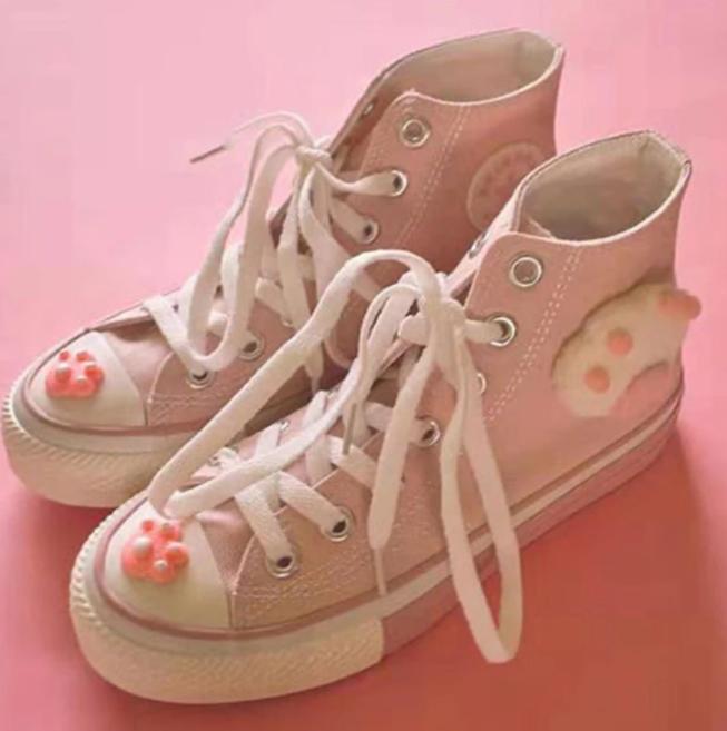 Sailor Moon Inspired Sneakers Cat Paws Kawaii Harajuku Japanese Cute Kitten Shoe