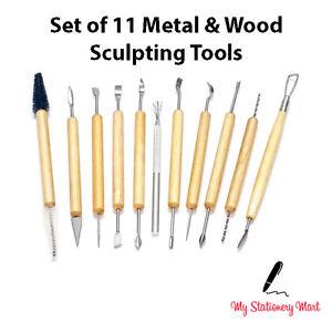 11pc Argile Polymère Modelage Outil Set Bois Modèles Art Poterie Céramique Outils Kit