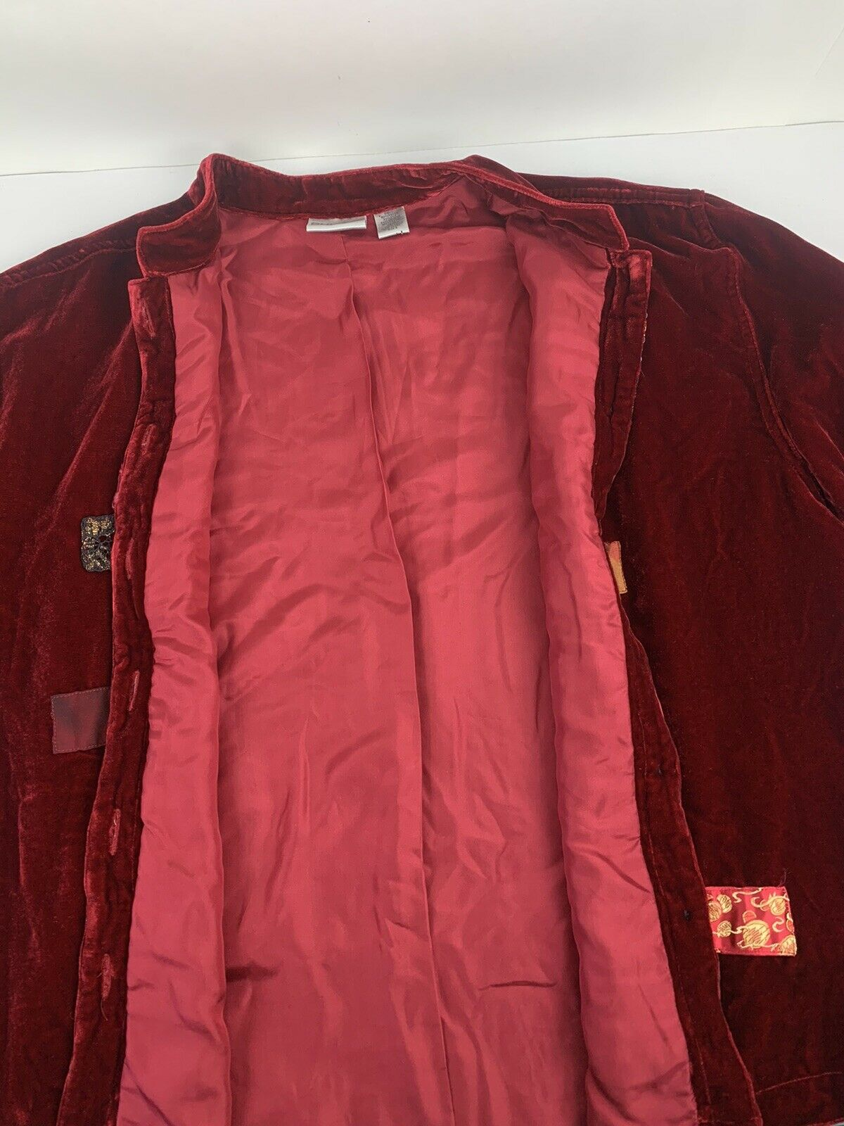 Chicos Womens Button Jacket Red Velvet Velour Ope… - image 4