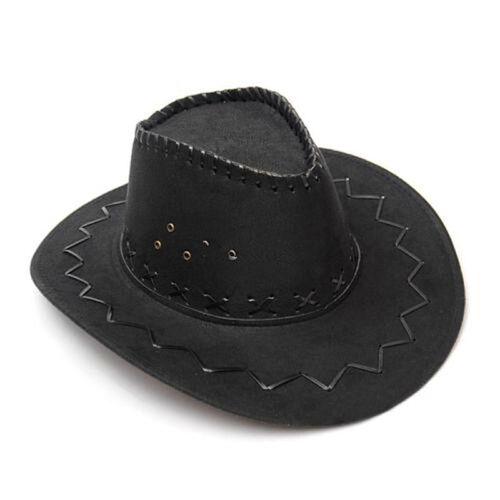 Cowboy Hat Suede Look Wild West Fancy Dress Men Lady Cowgirl Unisex Cap UK