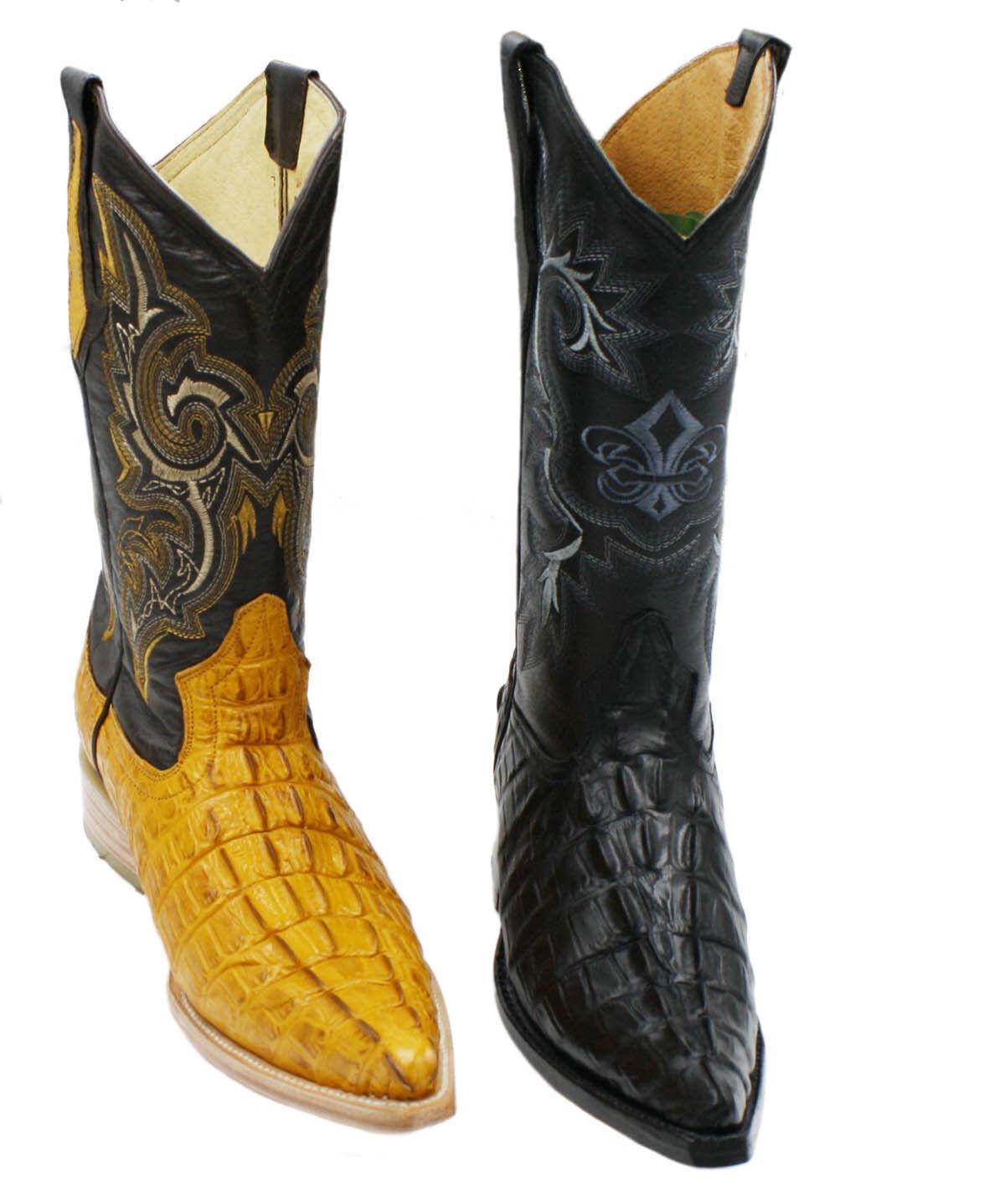 Men's Genuine Leather Crocodile Print 2X Toe Western Boots Style Carr -2xcoco