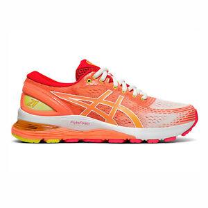 Detalles acerca de Asics Gel-Nimbus 21 [1012A611-100] Mujeres Running Shoes  White/Sol Coral- mostrar título original