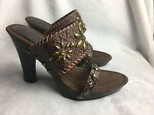Amanda-Smith-Women-s-Size-6-M-Heels-Slides-Western-Sandals-Brown-Studded-shoes