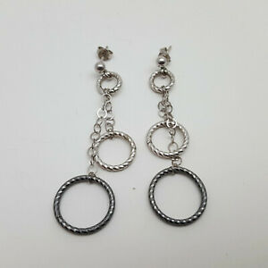 Sterling-Silver-Two-Tone-Silver-amp-Gunmetal-Hoop-amp-Chain-Earrings