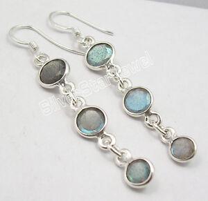 925-PURE-Silver-BLUE-FIRE-LABRADORITE-3-GEMSTONE-STUNNING-Earrings-2-2-034-NEW