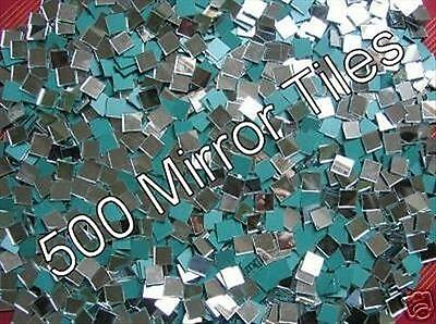 100  Pack 20 x 20mm  3mm Thick Glass Silver Mosaic Mirror Tiles