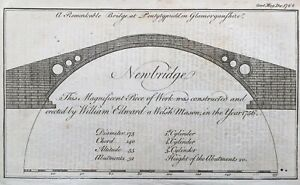 1764-Antique-Print-The-Old-Bridge-or-Pontypridd-Bridge-Glamorganshire