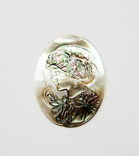 40x30 mm Mother of Pearl Victorian Woman with Hat Cameo, Reds, Pink, Green Cabs