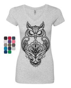 Black Owl Henna Style Women's V-Neck T-Shirt Wildlife Nature Knowledge Wisdom