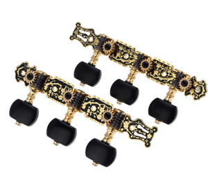 Alice AO-020HV3P 1Pair Classical Guitar Tuning Key Gold /Black Plated Tuner Pegs