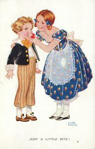 Lilian-Rowles-Just-a-Little-Bite-MOTHER-amp-BOY-CHILD-amp-APPLE-Valentine-039-s-POSTCARD