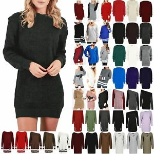 Womens-Oversized-Jumper-Ladies-Dress-Long-Sleeve-Chunky-Knitted-Long-Sweater-Top