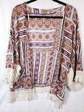 Embroidered Tribal Cardigan BOHO M 10 12 L 14 16 Aztec Kimono Cardi Summer Neon
