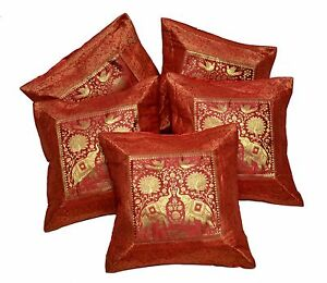 5pcs 100pcs Red Indian Silk Banarasi Applique Cushion Covers
