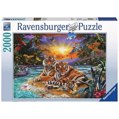 2000 Teile Ravensburger Puzzle Tigerfamilie im Sonnenuntergang 16624