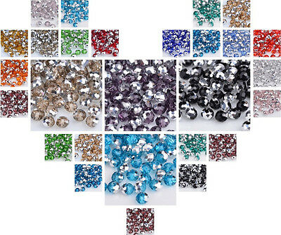 200pcs/3x4mm 72pcs/6x8 Half silver Facetd Glass Crystal Round Loose Spacer Bead