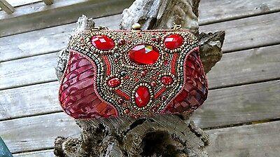 Mary Frances Red Paisley Handbag Purse Southwestern Gold Turquoise
