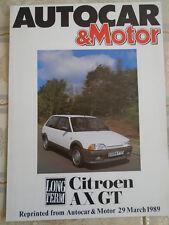 Citroen AX GT Autocar road test reprint brochure Mar 1989