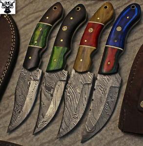 LOT OF 4 CUSTOM HANDMADE DAMASCUS STEEL HUNTING SKINNER KNIFE WITH WOOD HANDLE