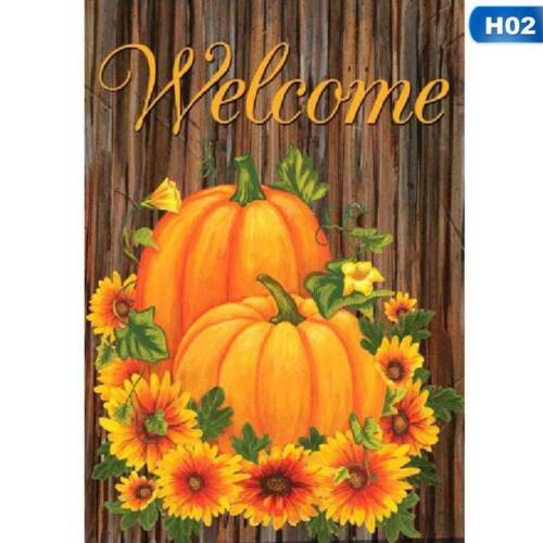 Welcome Fall Glory Floral Garden Flag Pumpkins Sunflowers Autumn Cxz @ami #mil