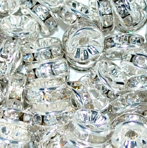 Glass rhinestone rondelle spacer beads various colors and sizes