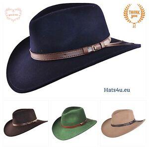 Caricamento dell immagine in corso Ripiegabile-Feltro-Cappello-Da-Cowboy -Western-cappello-Blu- 1f20573a8a27