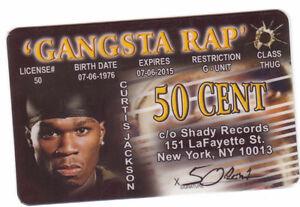 Rap-Star-50-Cent-novelty-plastic-collectors-card-Drivers-License