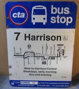 Vtg-2-Sided-CTA-Bus-Stop-7-HARRISON-Chicago-Aluminum-Sign-24-x-18-S597