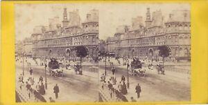 Parigi Hotel De Ville Stereo Vintage Albumina Ca 1865