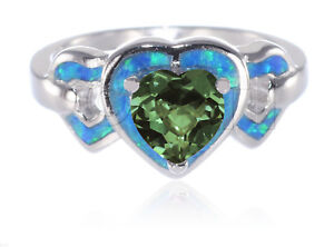 Three-Heart-Love-Emerald-CZ-Inlay-Blue-Fire-Opal-Genuine-Sterling-Silver-Ring