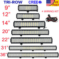"Tri-row 9""/12""/14""/20""/23""/31""/36""Inch LED Light Bar SPOT FLOOD Offroad 4WD ATV"