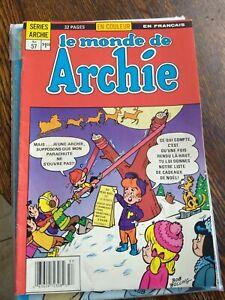 le monde de ARCHIE #57 en francais HERITAGE FRENCH COMIC 87 Quebec HTF