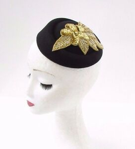 Image is loading Black-Gold-Sequin-Pillbox-Hat-Hair-Fascinator-Races- 6b37f15ffd5