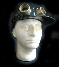 Brown Faux Leather Hat Steampunk Adult Halloween Costume Cap & Goggles